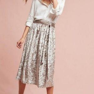 Anthropologie Silvery Taupe Velvet Midi Skirt 6 M